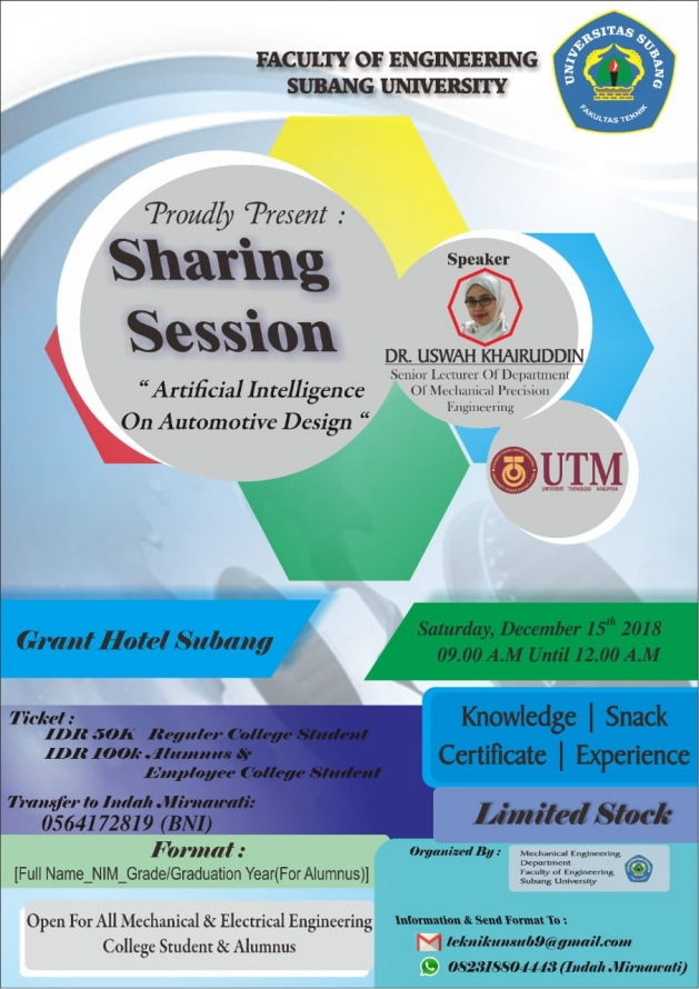 """SHARING SESSION """"ARTIFICIAL INTELLIGENCE ON AUTOMOTIVE DESIGN""""..."""